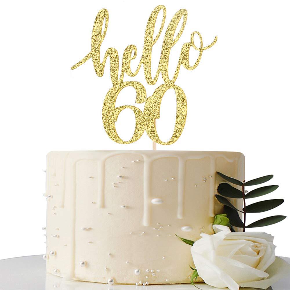 Hello 60 Cake Topper - 60th Birthday / 60th Anniversary Party Cake Decoration, 60th Birthday / 60th Anniversary Party Decorations Supplies (Gold, Hello 60)
