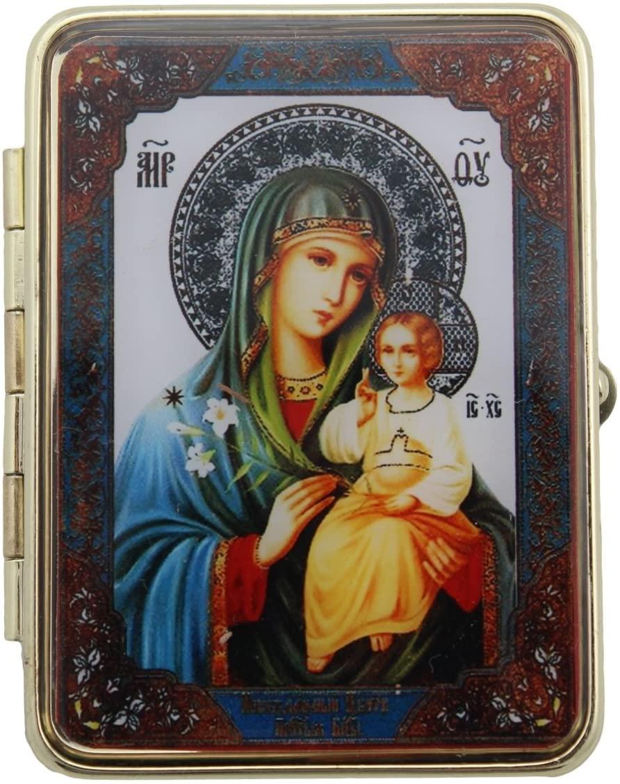 Madonna and Child Jesus Catholic Orthodox Russian Icon Pill Box with Mirror