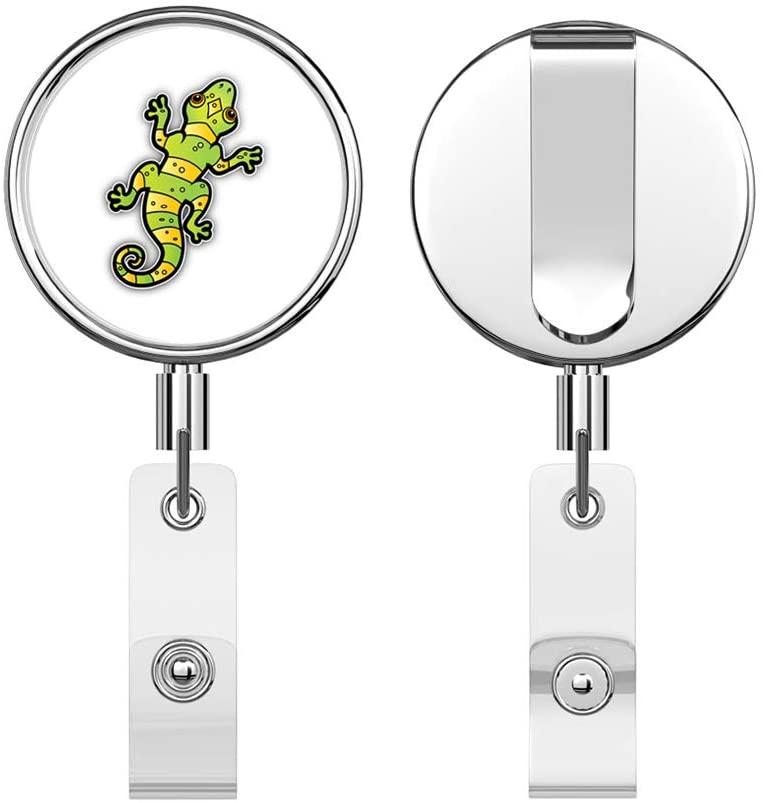 Lizard Retractable Reel Chrome Metal Badge ID Card Holder Clip