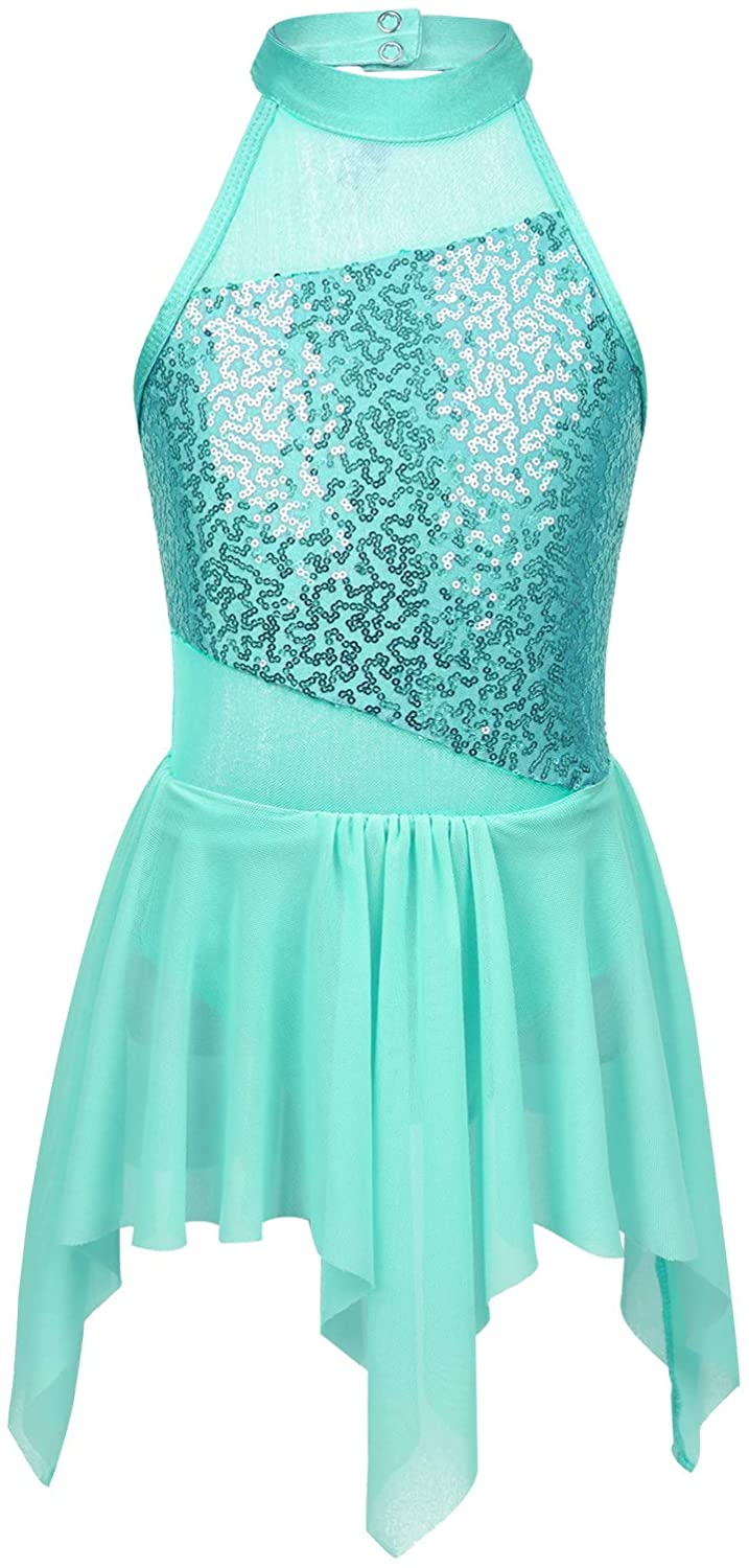 moily Big Girls Sequins Ballet Latin Lyrical Dance Dress Halter Cutout Back Leotard Irregular Skirts