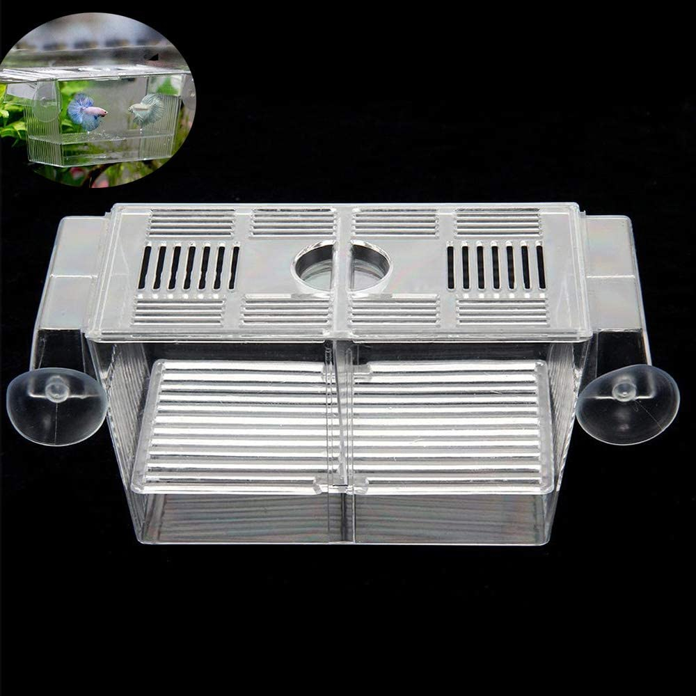 Aquarium Fish Tank Hatchery Breeding Boxes, Acrylic White Breeder Isolation Divider Hatching Incubator Boxes Accessory for Small Baby Fishes Shrimp Clown Fish Guppy