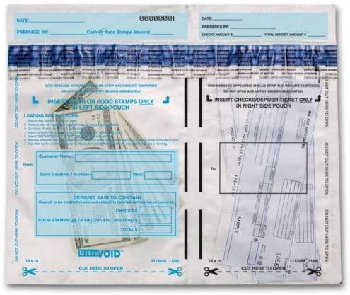 53859, Horizontal Dual-Pocket Cash Deposit Bags