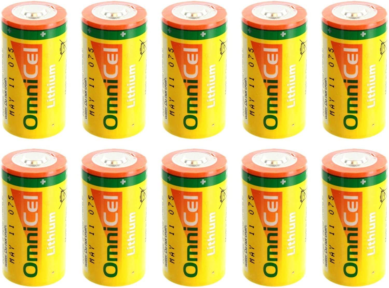 10x OmniCel ER26500HD 3.6V Size C Lithium Battery For Asset Tracking, Theft Prevention, Intrusion Sensors, Invisible Fencing, Carbon Monoxide Detectors, External Defibrillators, Mobile Workstations