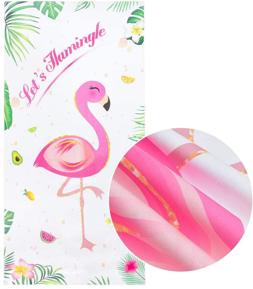 "WERNNSAI Flamingo Beach Towel - HawaiianTropical Party Supplies 30"" × 60"" Sand Free Microfiber Quick Dry Water Absorption Pool Swim Beach Blanket Travel Holiday Beach Gift for Girls Women"