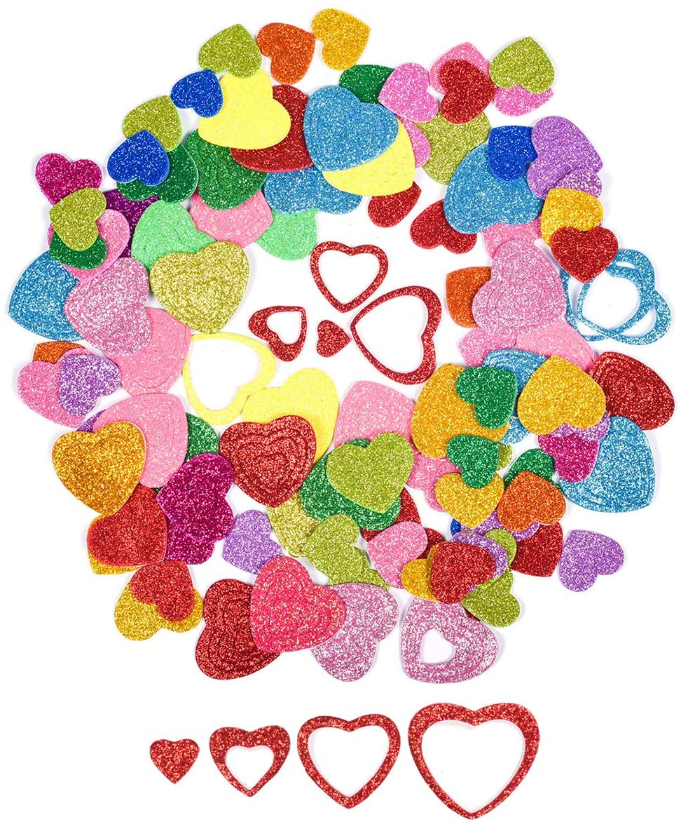 6 Pack Funny Stickers Foam Letter Stickers Color Glitter 3D Heart Stickers for Kids Girls,Cute Photo Stickers Laptop Stickers Happy Planner Stickers for DIY Arts and Crafts,Daily Planner (Color Love)