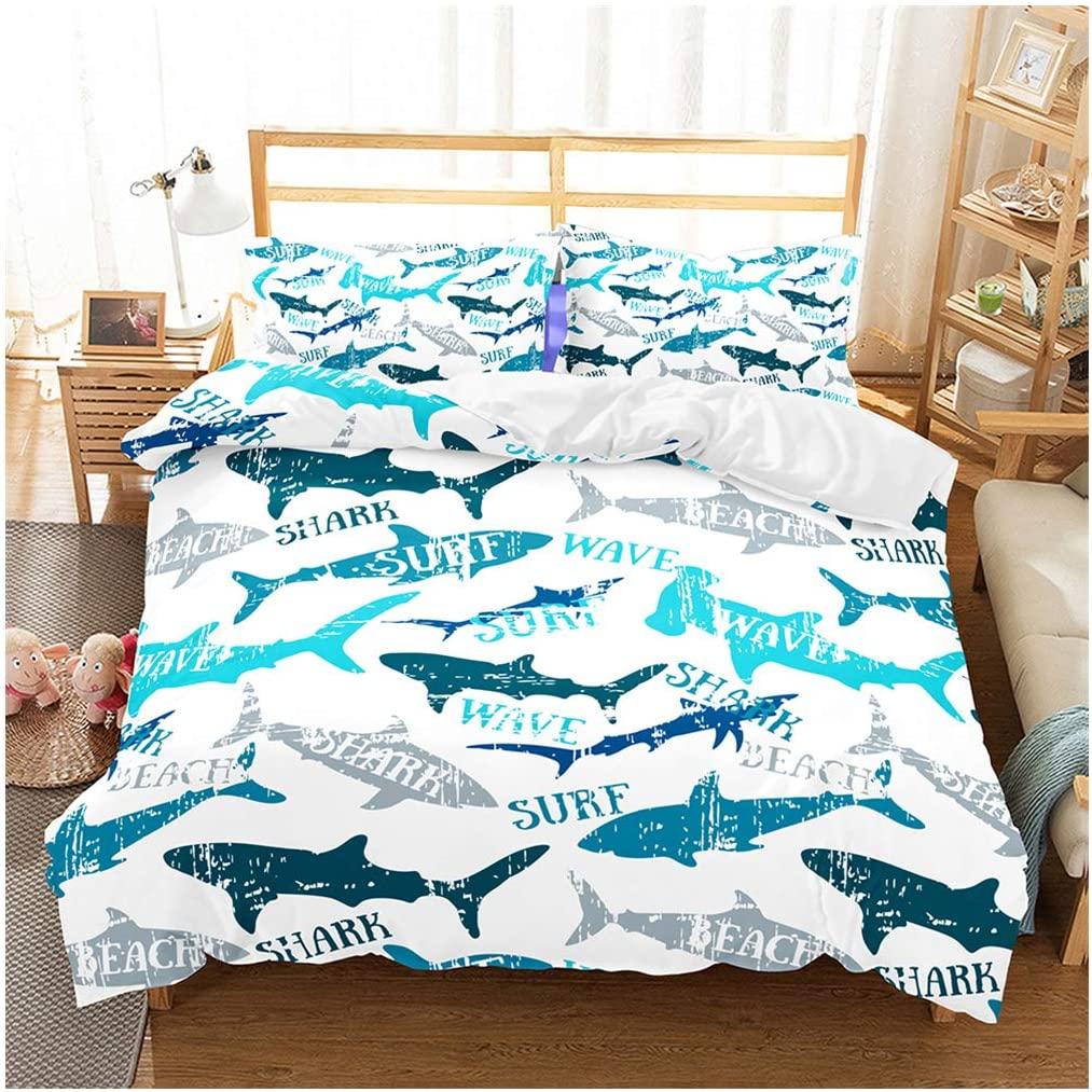 Shark Fish Print Kids Duvet Cover Set Full Bedding Cover Set Boys Girls Duvet Comforter Cover Set Luxury Soft Full Duvet Cover Set for Children Teens