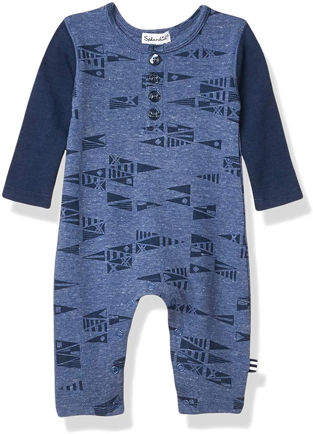 Splendid Baby Boys' Kids' Long Sleeve Coverall, Dark Blue Heather, 0/3 Mo