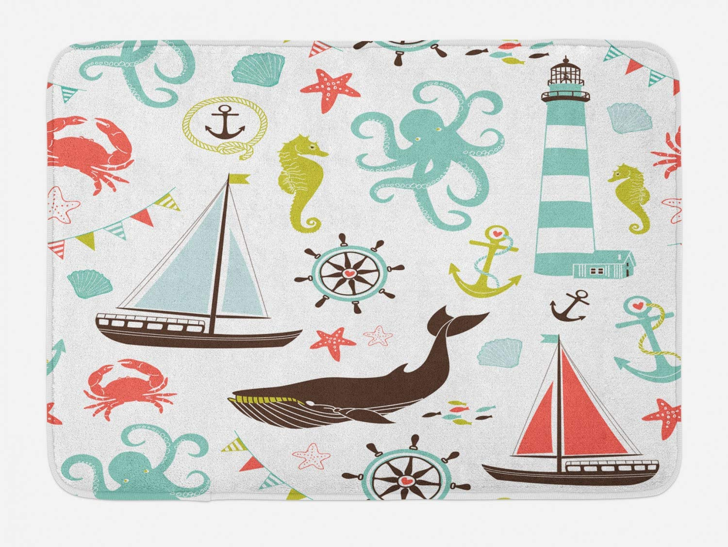 Ambesonne Nautical Bath Mat, Pastel Colored Composition of Lighthouse Sailboat Fish Shells Octopus and Anchor, Plush Bathroom Decor Mat with Non Slip Backing, 29.5