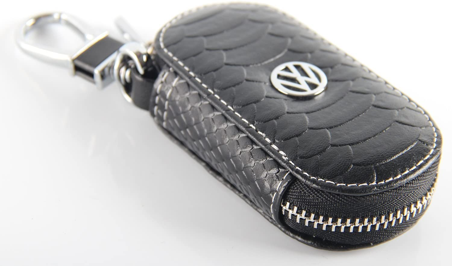 Key Chain Bag Oval Fish Scale Stripes Genuine Leather Ring Holder Case Car Auto Coin Universal Remote Smart Key Cover Fob Alarm Security Zipper Keychain Wallet Bag (Black, VW.Volkswagen)