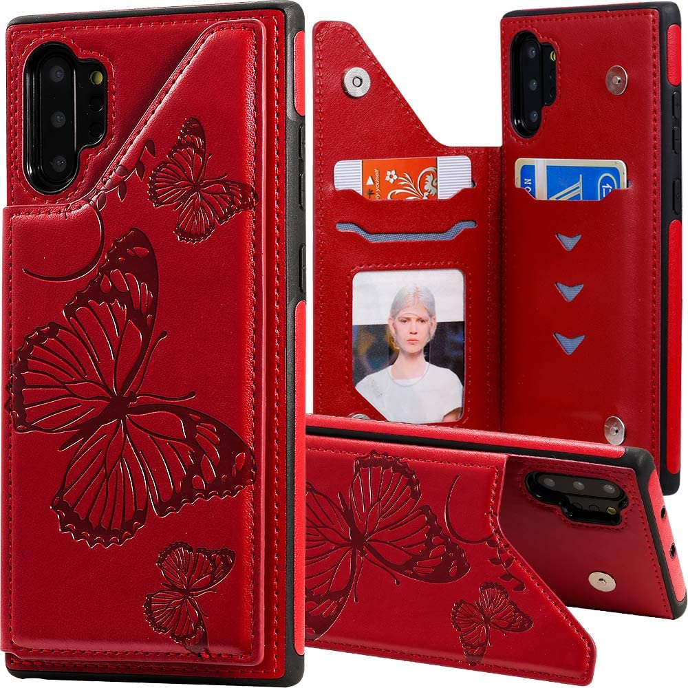 Auker Samsung Galaxy Note 10 Plus Wallet Case for Women/Girls,Note10+ 5G Case with Card Holder,Folio Flip Magnetic Snap Embossed Butterfly Leather Slim Protective Stand Card Change Pocket Phone Case