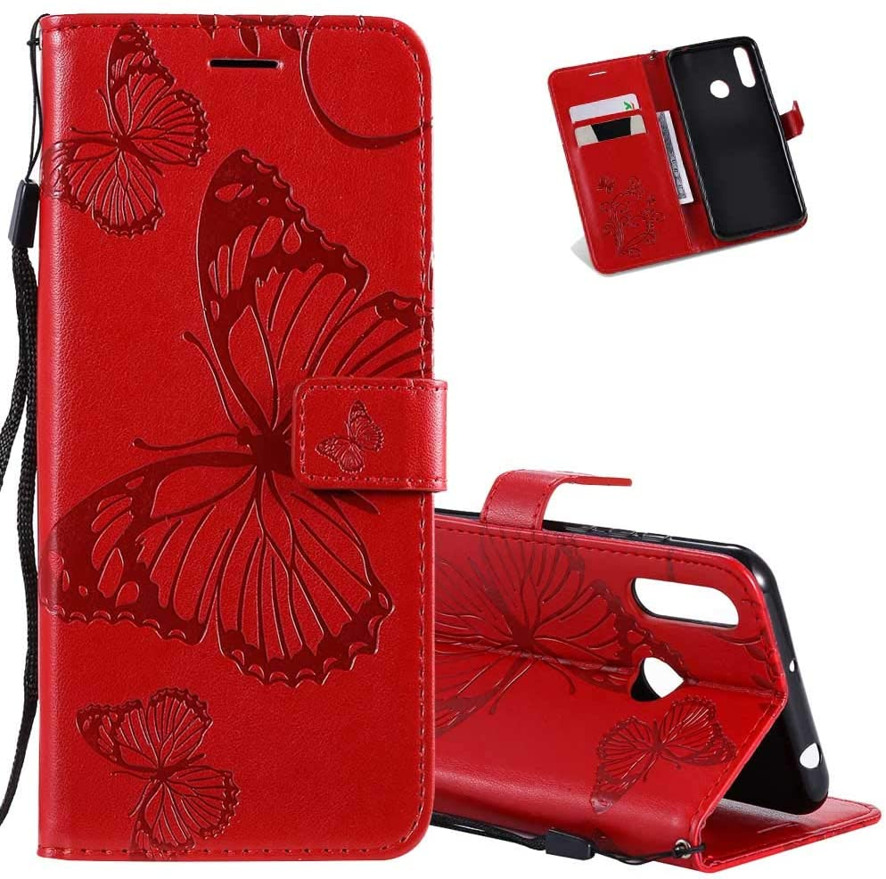 Asdsinfor Galaxy A20S Case Full Stylish Advanced Embossing Wallet Case Credit Cards Slot with Stand for PU Leather Shockproof Flip Magnetic Case for Samsung Galaxy A20S Big Butterfly Red KT