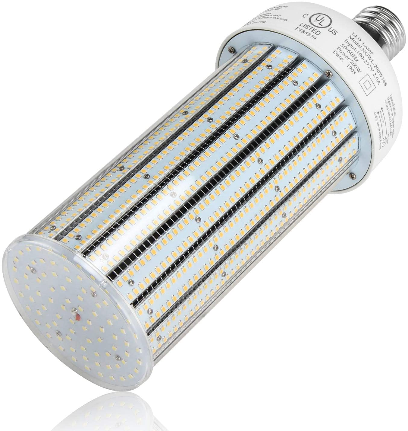 200W LED Corn Light Bulbs-1000W Metal Halide HID HPS Replacement- UL Listed DLC 27000LM E39 Base 6000K Cool White Cob Lamp for Warehouse Factory High Bay Garage Autoshop Gym Lighting Fixture Retrofits