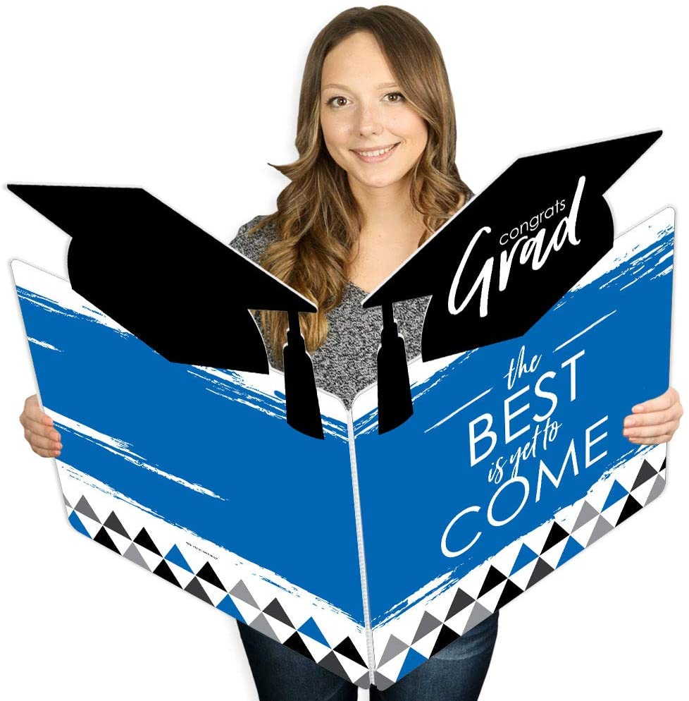 Big Dot of Happiness Blue Grad - Best is Yet to Come - Royal Blue Graduation Congratulations Giant Greeting Card - Big Shaped Jumborific Card - 16.5 x 22 inches