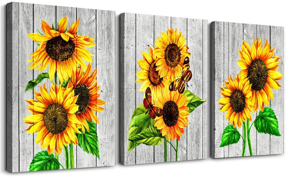 Canvas Wall Art for living room bathroom Wall Decor Canvas Prints Office kitchen wall paintings Artwork Home Decor yellow sunflower Flowers 12