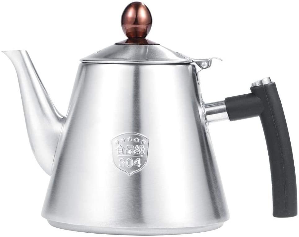 Teapot, Delaman 1.2L 304 Stainless Steel Teapot Stove-top Tea Coffee Pot Kettle Heat Resistant Silicone Handle, Silver(亮光)