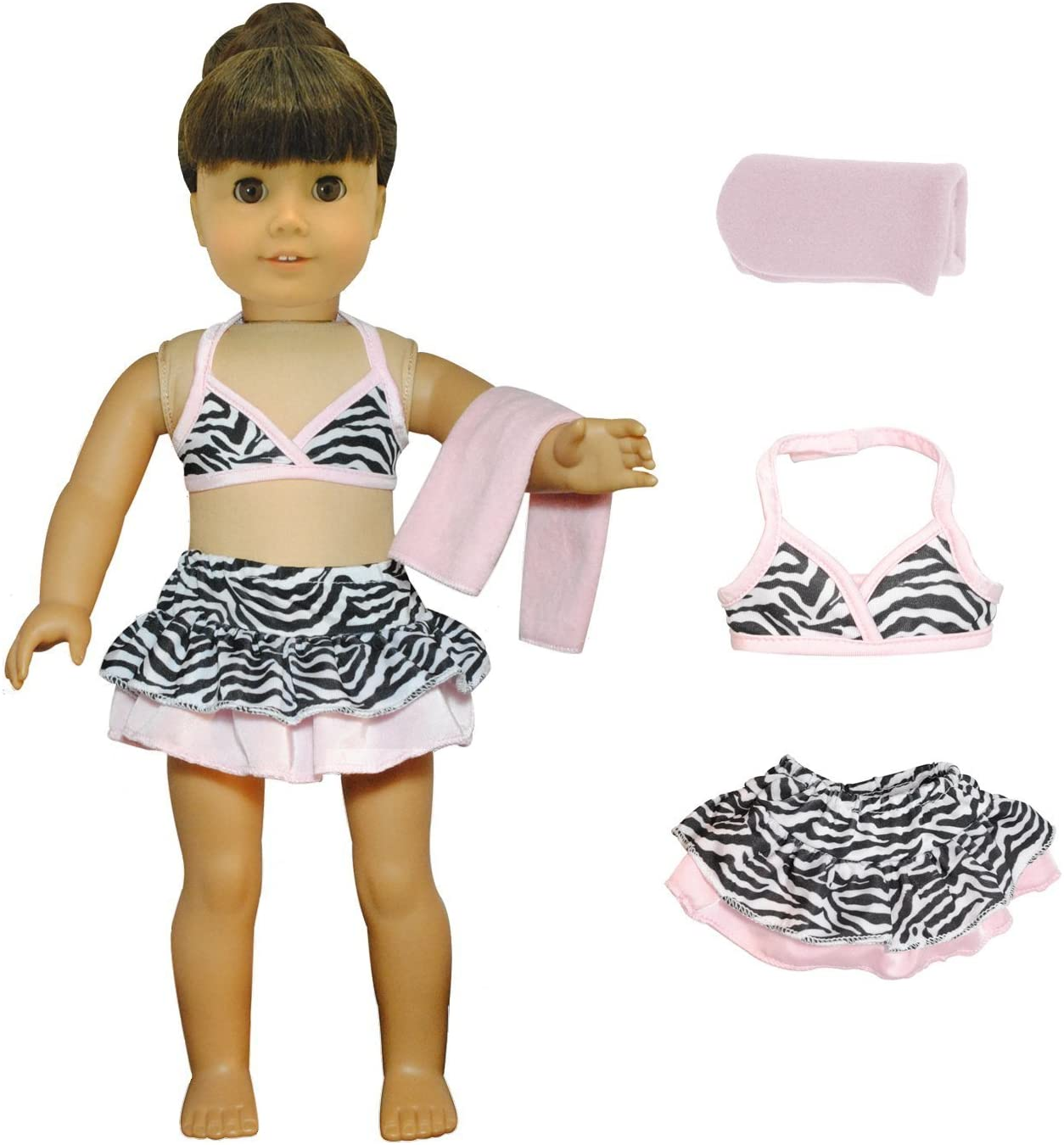 Pink Butterfly Closet Doll Clothes - 3 Pieces Bikini Swimsuit (Skit, Top and Beach Blanket) Set Fits American Girl Doll and 18 inch Dolls -