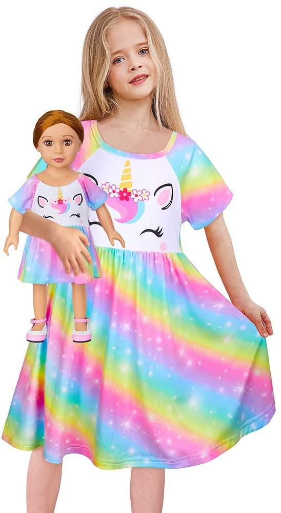 Play Tailor Doll and Girl Matching Nightgown Unicorn Outfit Night Dress for Girls and 18
