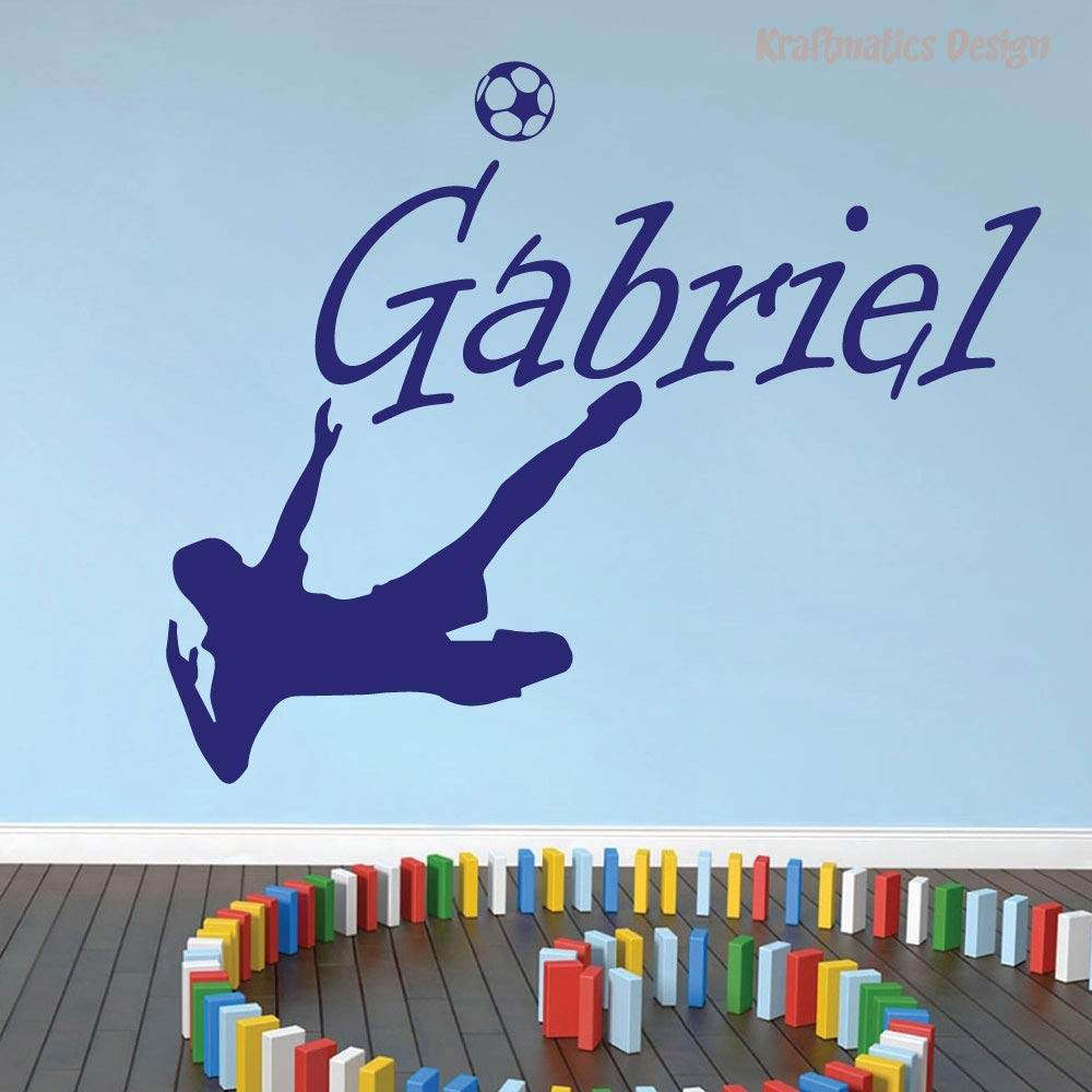 Soccer Custom Name Sports Series Nursery Wall Decal Vinyl Sticker for Home Decor. (Large W 40