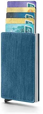 Wallet Slim Wallet Credit Card Holder for Men RFID Fiber Money Clip Wallet Metal Leather Material with Money Pocket (Denim Blue)