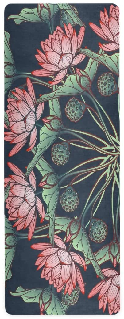 ALAZA Lotus Pattern Yoga Mat Non Slip 1mm Thick Foldable Travel Exercise Mat for Men Women Girls 71x26 Inches