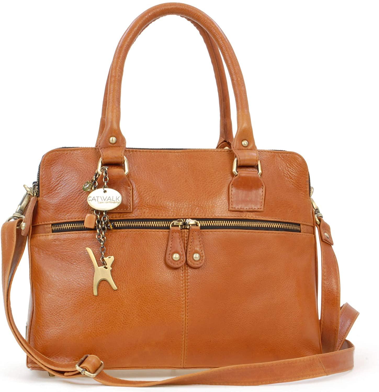 Catwalk Collection Handbags - Womens Vintage Leather Tote - Shoulder/Cross Body Bag - Detachable Adjustable Strap - VICTORIA