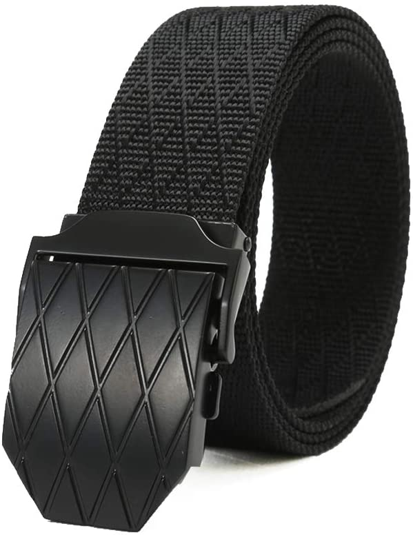 Mens Nylon Belt Military Tactical Webbing Regular & Big and Tall 34-62 inch Waist Canvas Outdoor Web Belt with Removable Ratchet Buckle (Adjustable 60