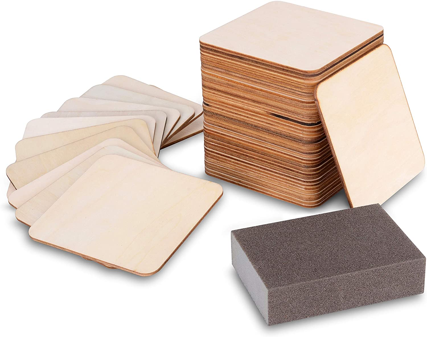 ZHAOER Unfinished Wood 50 Pcs Wooden Squares Blank Wood Slices with Sanding Sponge for DIY Crafts Painting Coasters and Ornaments (4 INCH)
