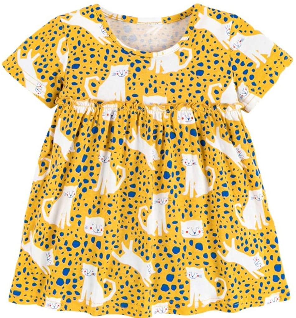 Yoriko Girls Dress Cotton Short-Sleeve Kids Toddler Casual Dresses