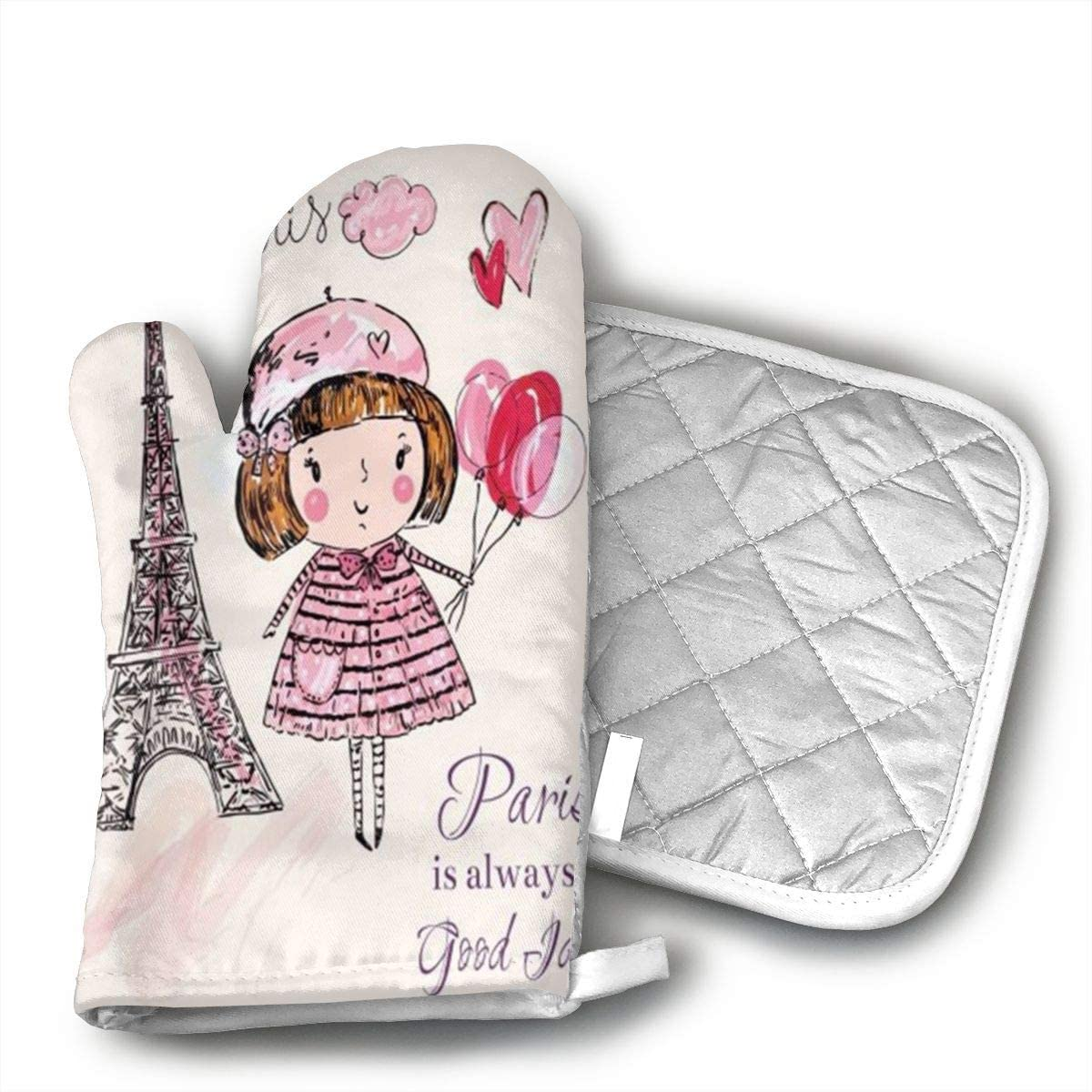 antcreptson Paris is Always A Good Idea Beautiful Pink Girl with Balloon Polyester Set of Oven Mitt and Pot Holder for BBQ | Cooking | Baking | Grilling | Microwave | Barbecue