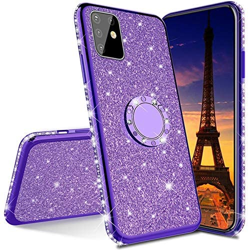 ISADENSER Samsung A91 Case Galaxy S10 Lite Case Ultra-Slim Glitter Bling Diamond Silicon TPU Soft Cover with Ring Stand Holder for Samsung Galaxy A91 / Galaxy S10 Lite ,Purple TPU with Stand Holder