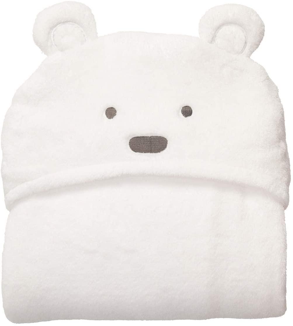 Leyeet Soft Comfortable Baby Hooded Hoody Swaddle Blanket Bathrobe Cute Animal Bear Wrap Toddler Bath Towel (Color : White Bear with Small Eyes)