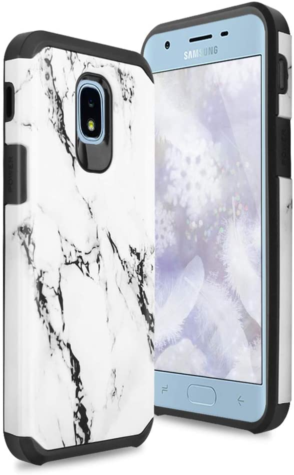 TJS Phone Case for Samsung Galaxy J7 2018/J7 Refine/J7 Star/J7 Eon/J7 TOP/J7 Aero/J7 Crown/J7 Aura/J7 V 2nd Gen, Dual Layer Hybrid Shockproof Marble Cover (White)