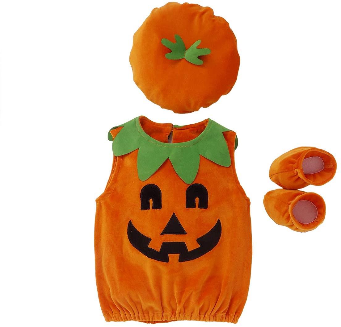 LXXIASHI Toddler Halloween Pumpkin Costumes Baby Kids Velvet Vest Dress Top + Hat + Shoes Outfits Cosplay Suit Clothes (Pumpkin Romper + Hat + Shoes - Orange, 1-2 Years)