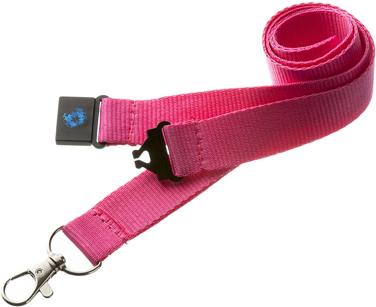 20mm Quality Neck Lanyard/Badge Holder/Skipass Holder/Whistle Holder with Safety Breakaway (Pink) by PAC SUPPLIES USA