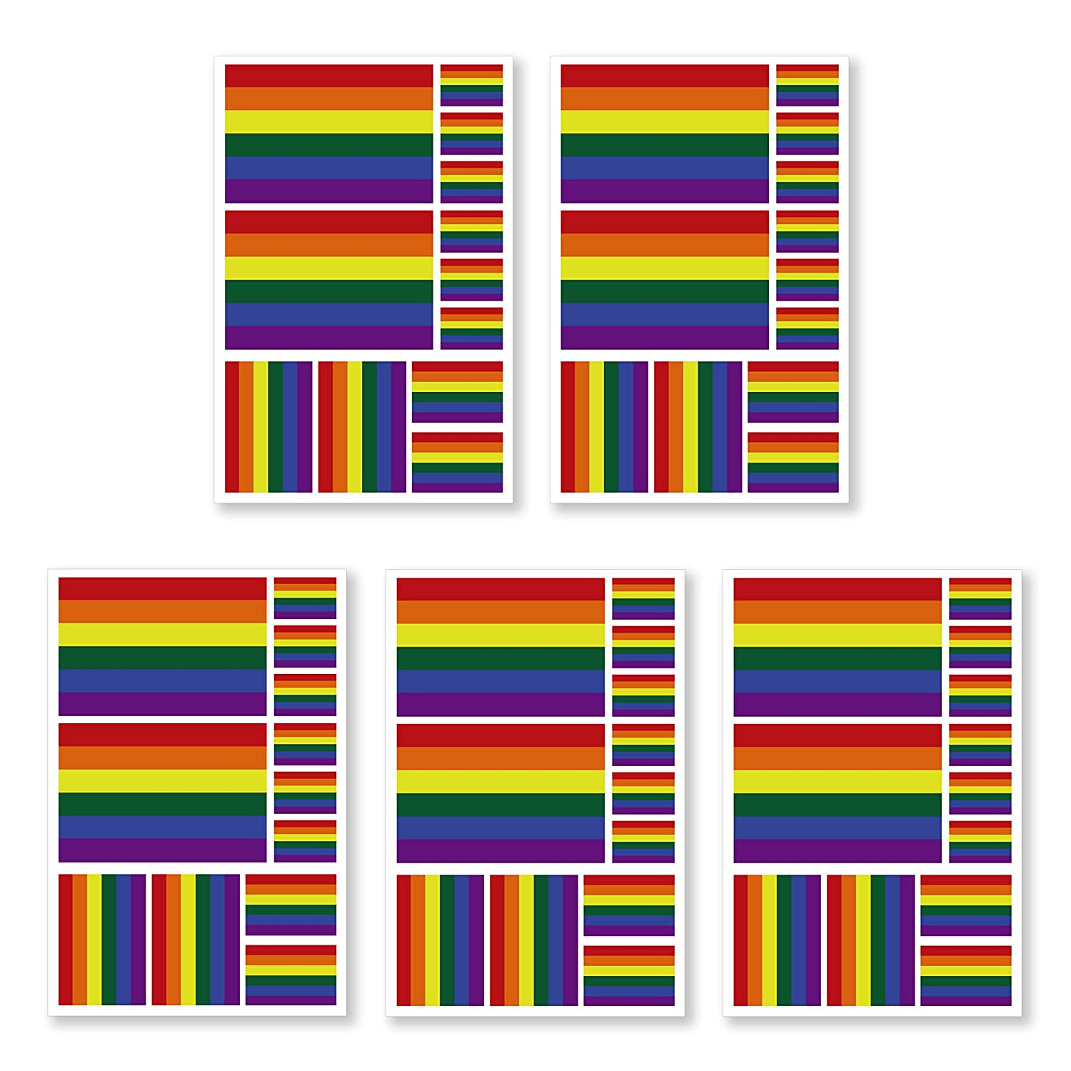 JBCD 5 Pcs Rainbow Flag Tattoos LGBT Flag Stickers Face Tattoos, Gay Pride Tattoos Temporary Decorations Suitable for Sports Event and Party