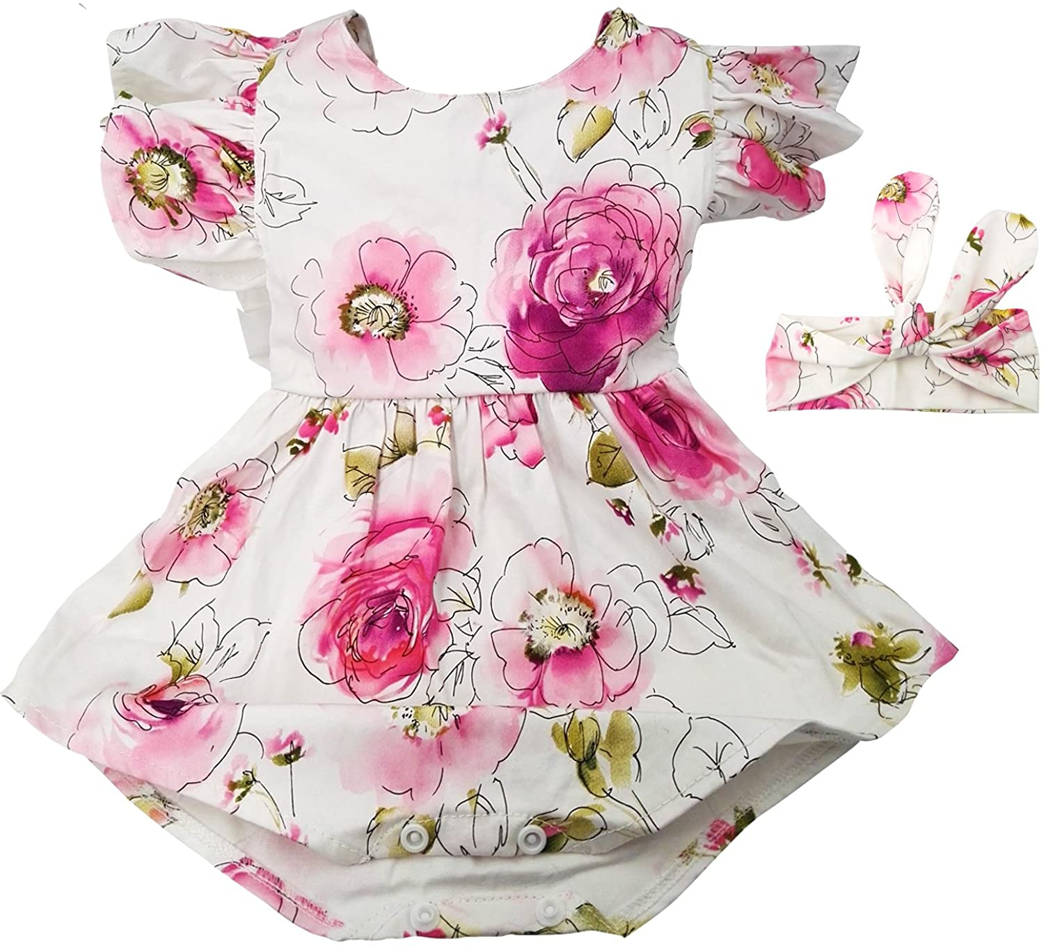 Hollyhorse Newborn Baby Girl Summer Rompers & Clothes | Baby Girl Dress with Headbands