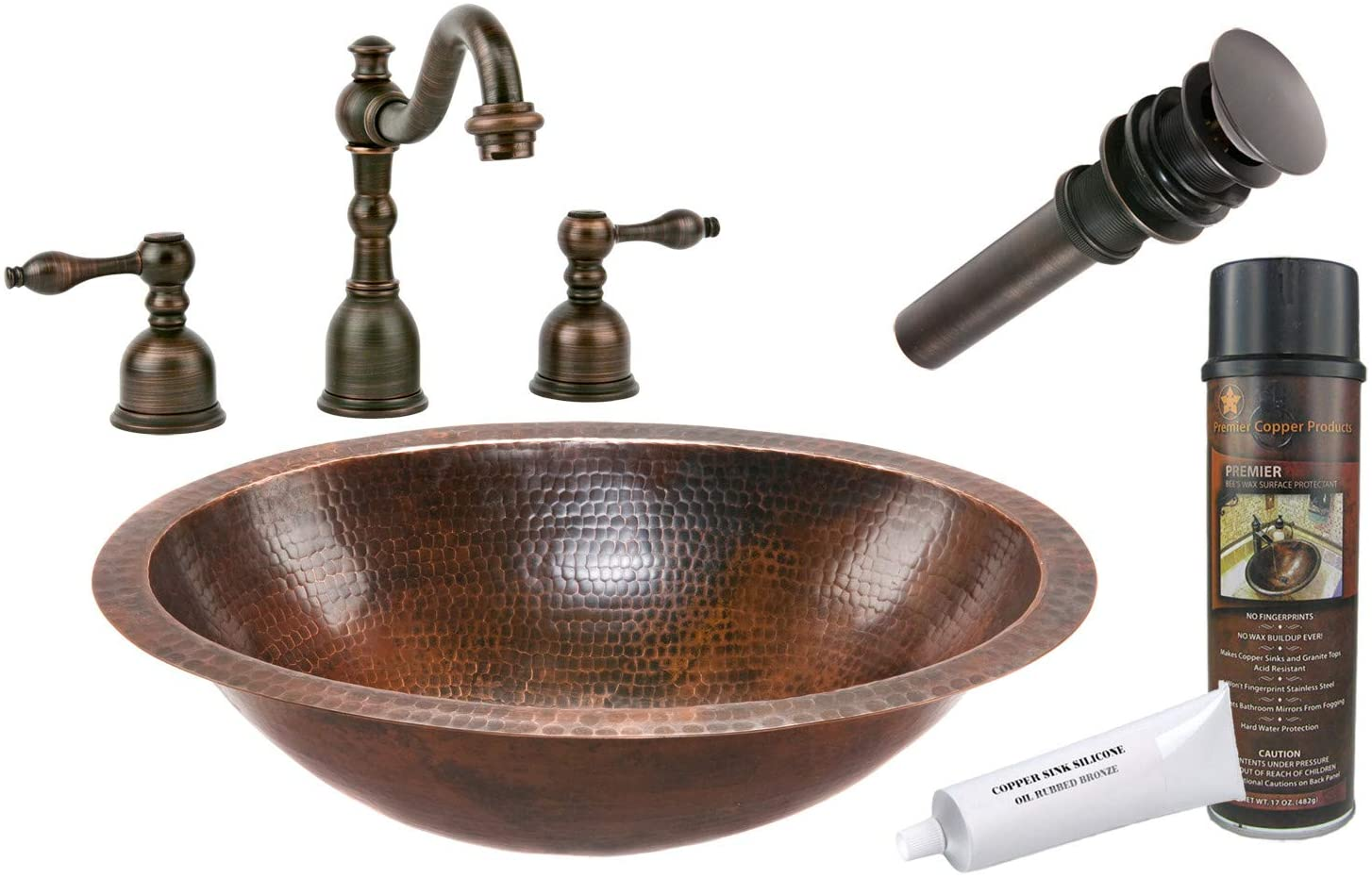 Premier Copper Products BSP2_LO19FDB Oval Under Counter Hammered Copper Sink with Widespread Faucet, Oil Rubbed Bronze