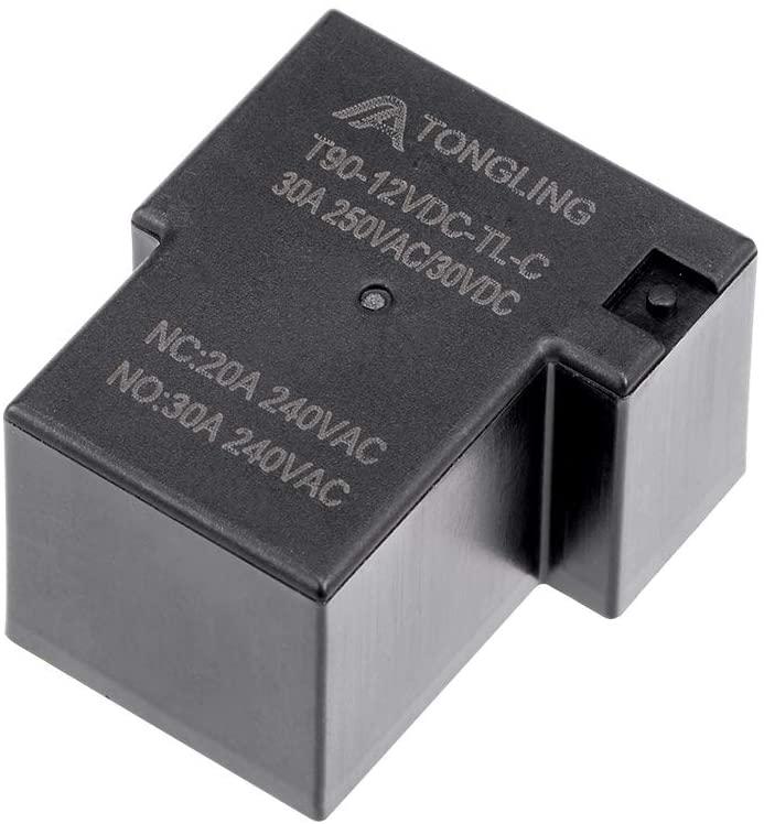 uxcell 1 Pcs T90-12VDC-TL-C DC 12V Coil SPDT 5 Pin PCB Electromagnetic Power Relay