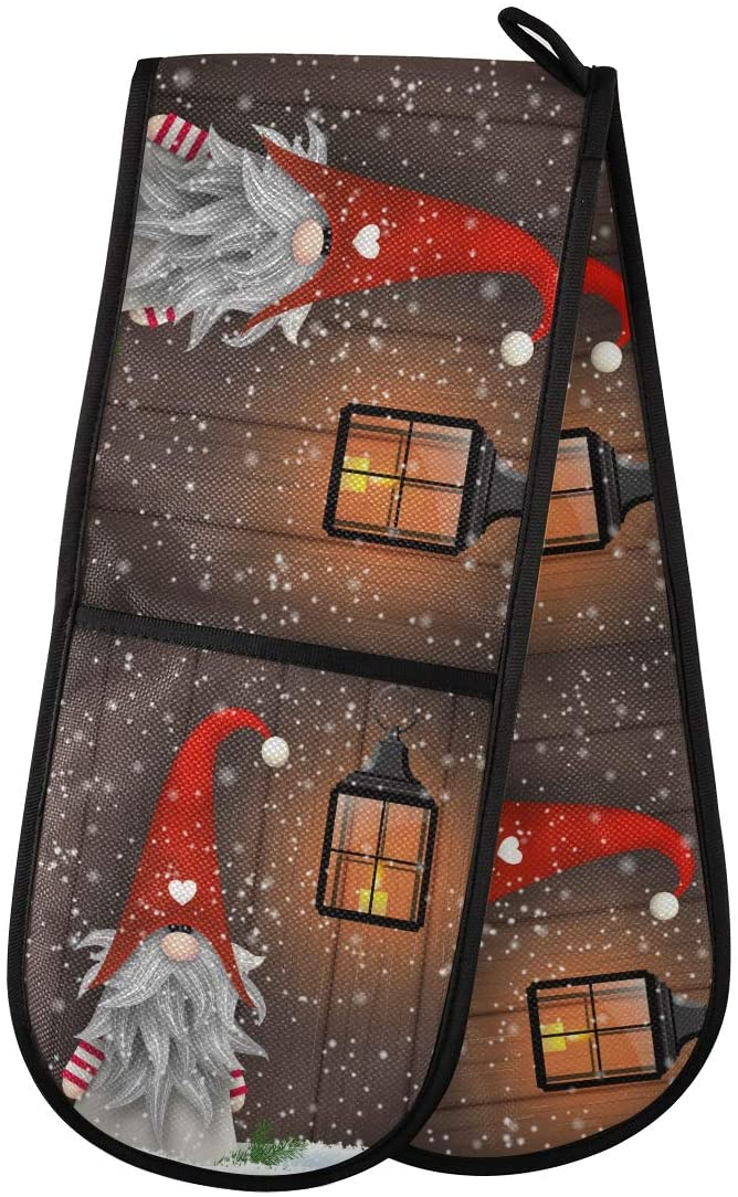 Aslsiy Christmas Winter Gnome Snowman Double Mitt Snow Heat Insulation Oven Mitts Fabric Kitchen Gloves for Pot Holder Cooking BBQ Baking Decor Gifts