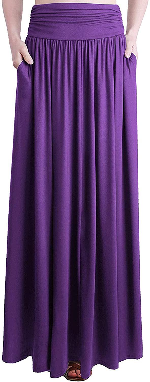 Loxdonz Women's High Waist Shirring Maxi Skirt Fold Over Long Skirts with Pockets