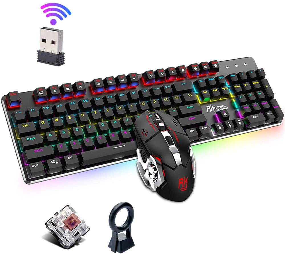 Wireless Gaming Keyboard Mouse Combo, Lychee Mechanical 104 Keys with RGB Backlit (Brown Switch)