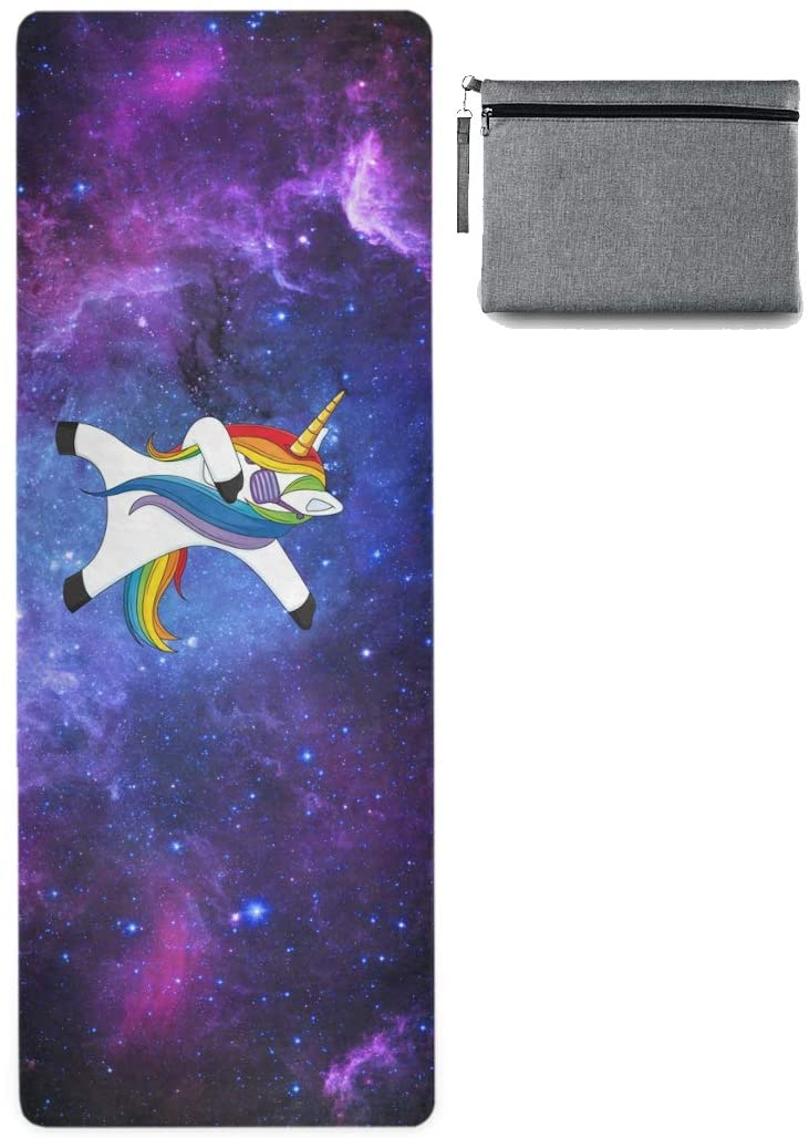 ALAZA Galaxy and Funny Unicorn Nonslip Yoga Mat Towel with Grip Dots for Women Men
