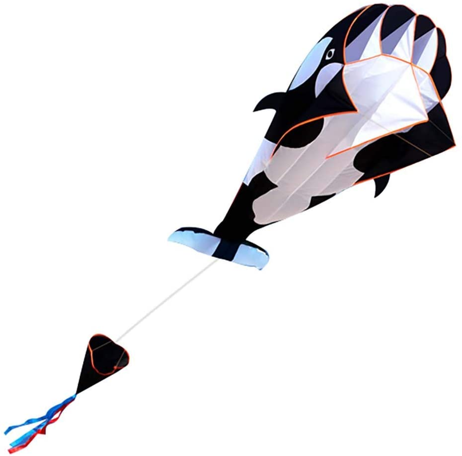 Binory 3D Large Whale Kite Breeze Beach Flyer Kites with Kiteboard and Tail,Huge Frameless Soft Parafoil Giant,Outdoor Park Garden Game Fun Toys Gift for Kids and Family(Black)