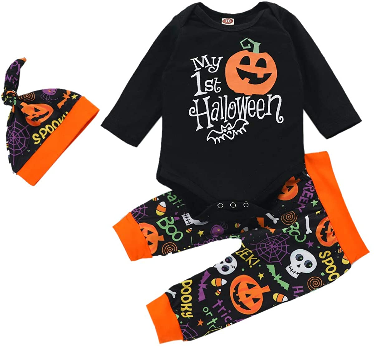 Newborn Baby Boys Girls Halloween Outfit Ghost Romper Bodysuit Skull Pants Hat Clothes Set My 1st Halloween Pajama 0-24M