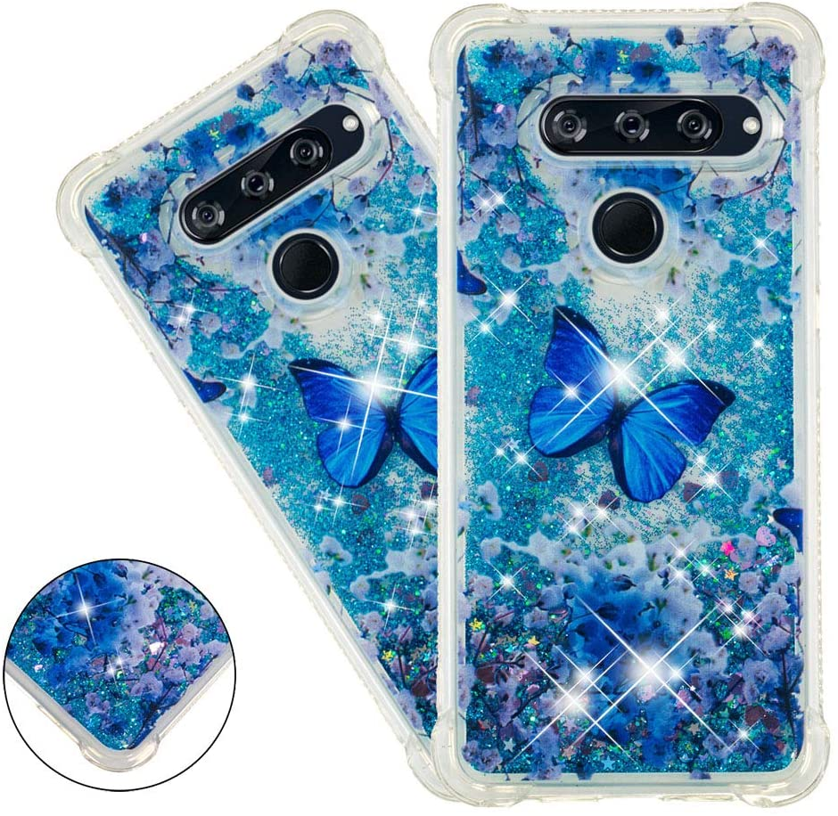 HMTECHUS LG V40 ThinQ case for Girl Glitter Liquid Sparkle Floating Luxury Quicksand Clear Soft TPU Silicone Shockproof Protective Bumper Thin Cover for LG V40 Bilng Blue Butterfly YB
