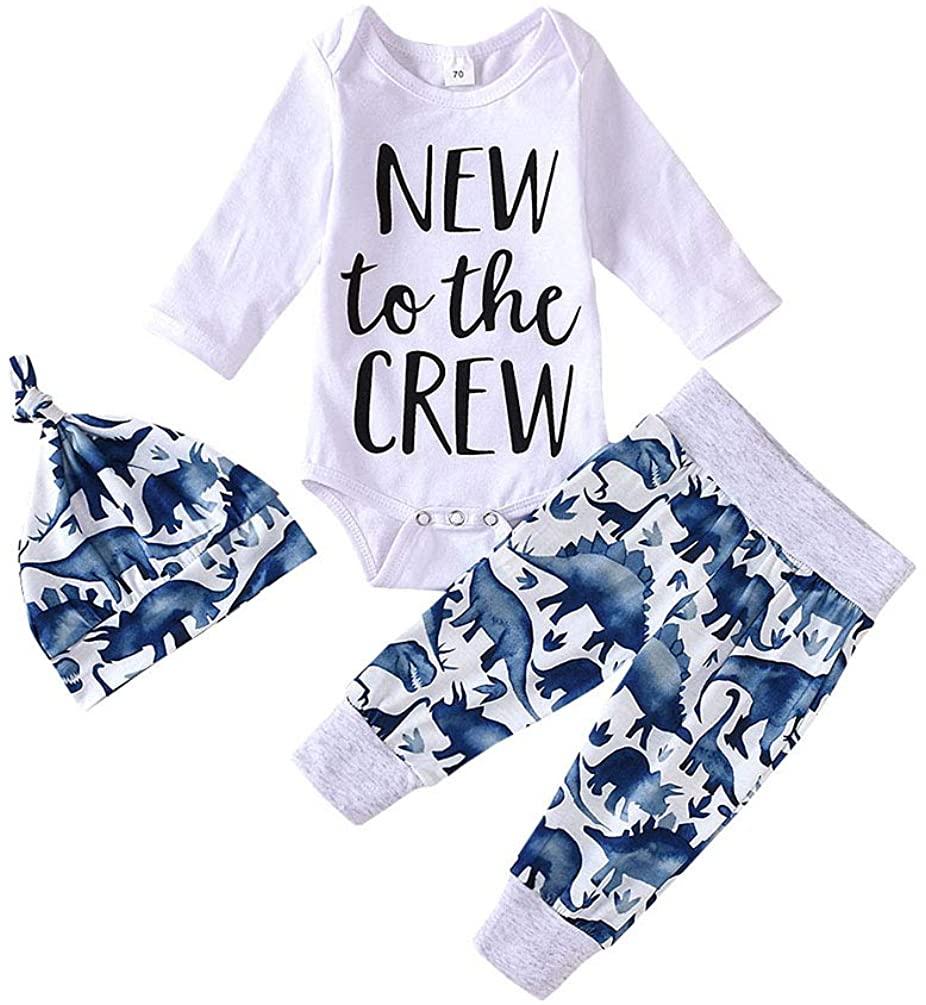 Kislio Baby Boy Girls New to The Crew Letter Romper Long Sleeve Top+Dinosaur Pant+Hat