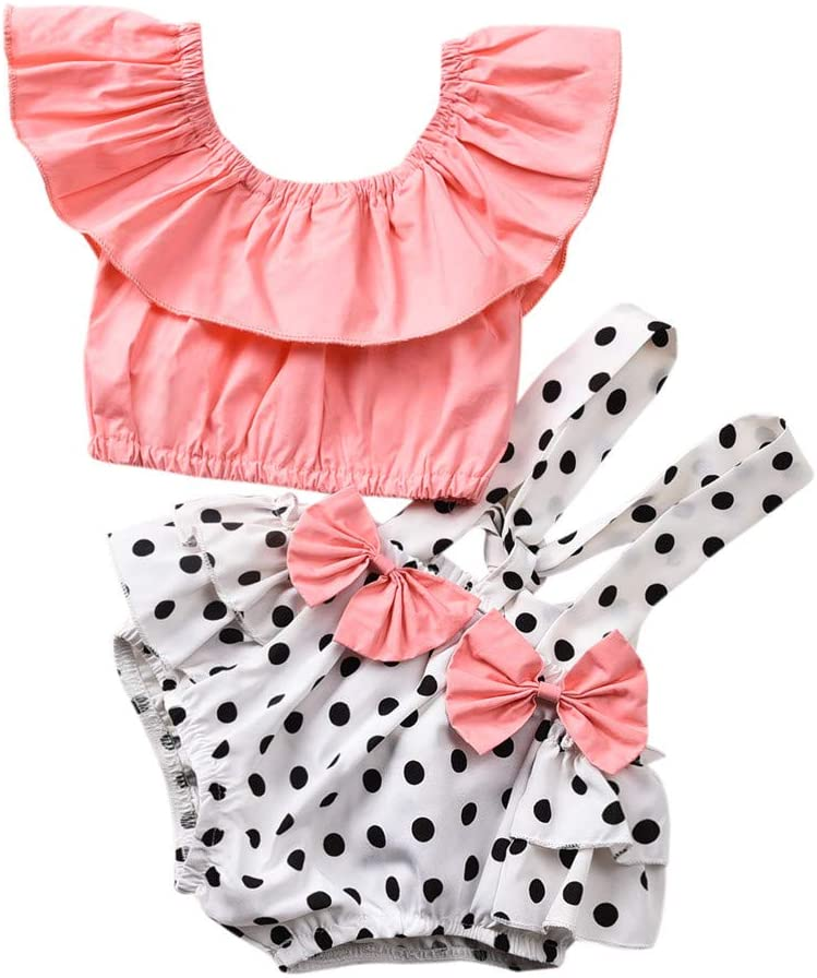 Clothful_Clothes Newborn Infant Baby Girls Shirt Tops Bow Dot Ruffle Suspender Shorts Outfits Set