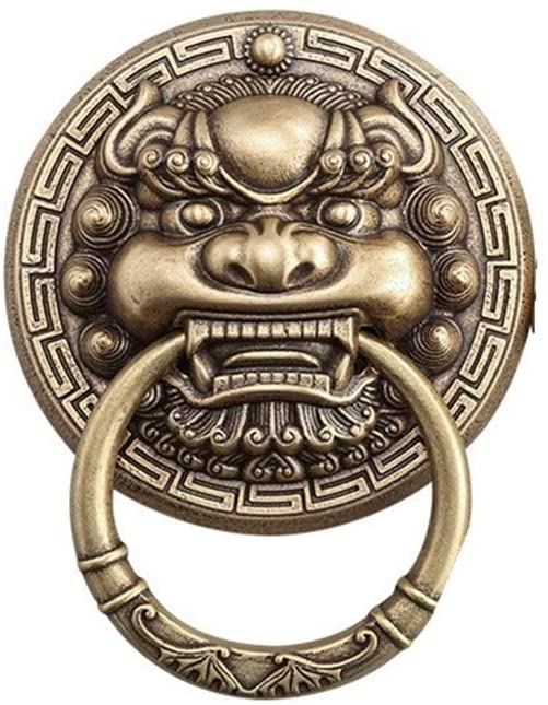 Quisilife Beast Head Lion Head Knocker Gate Brass Handle Buckle Ancient Building Accessories Knocker Easy to Install (Color : Bronze, Size : 13cm)