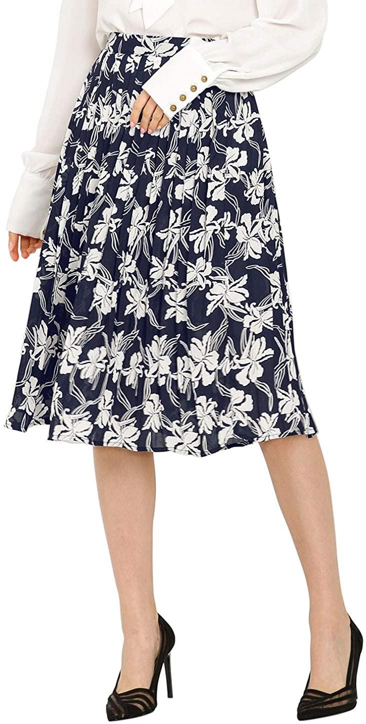 Allegra K Women's Floral Print Elastic Waist Office Midi Pleated Skirt