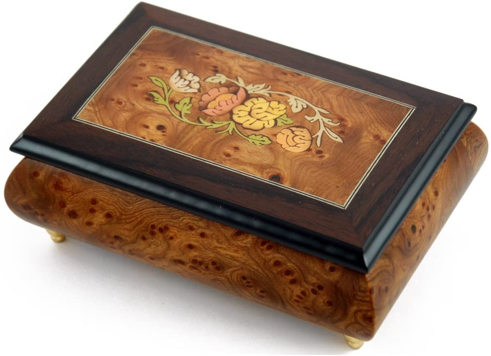 Traditional Style 30 Note Floral Theme Wood Inlay Music Jewelry Box - Scarborough Fair